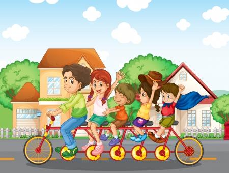 Illustration of a family biking together  Vector