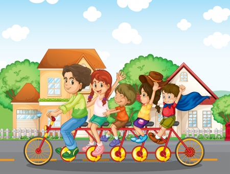family outside house: Illustration of a family biking together