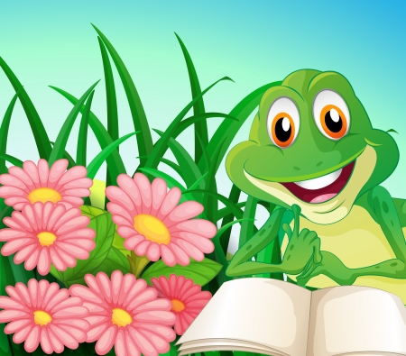 smiling frog: Illustration of a frog with a book at the garden Illustration