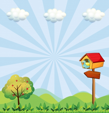 hilltop: Illustration of a birdhouse at the hilltop with an arrowboard