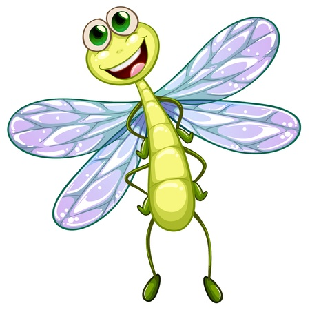 hindwing: Illustration of a smiling dragonfly on a white background