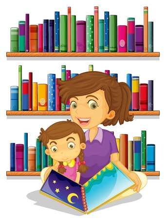 Illustration of a mother with her daughter reading a book on a white background