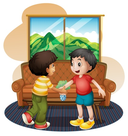 companions: Illustration of the two boys shaking hands near the sofa on a white bakground