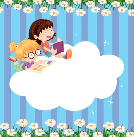 studying: Illustration of an empty cloud template with two girls reading