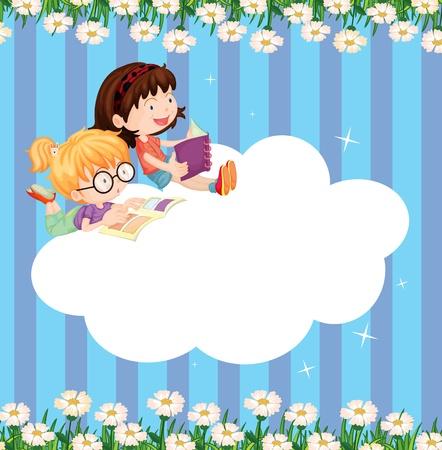 estudiando: Ilustración de una plantilla nube vacía con dos niñas leyendo Vectores