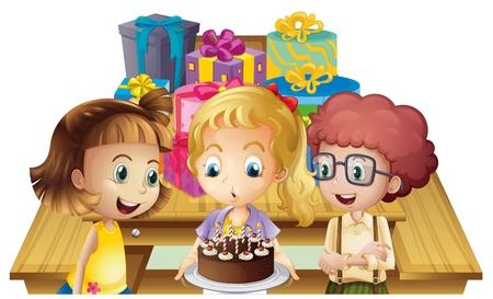 Illustration d'une jeune fille fête son anniversaire avec ses amis sur un fond blanc
