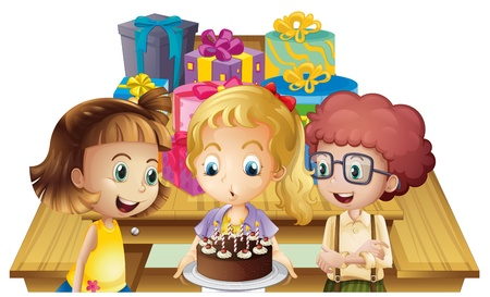 Illustration of a girl celebrating her birthday with her friends on a white background