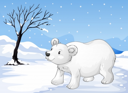 Illustration of a snowbear walking Vector