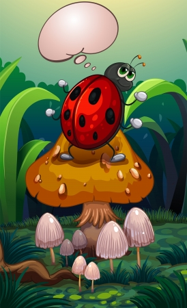 Illustration of a bug above a mushroom with an empty callout Vector