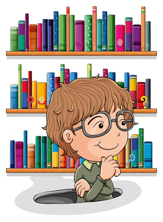 Illustration of a man wondering inside the hole with books at the back on a white background Stock Vector - 20889006
