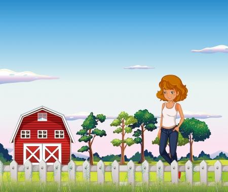 barnhouse: Illustration of a girl standing near the red barnhouse inside the fence Illustration