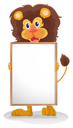 Illustration of a lion smiling holding an empty board on a white background