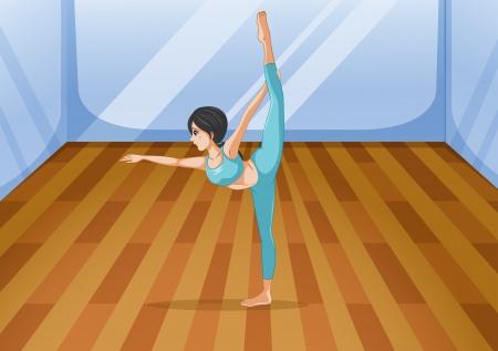 gym room: Ilustraci�n de una ni�a de yoga realizar dentro del estudio