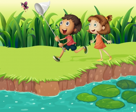 Illustration of the kids catching butterflies