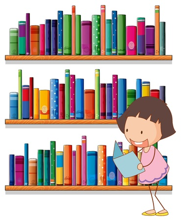 nonfiction: Illustration of a smiling young girl reading in front of the bookshelves on a white background  Illustration
