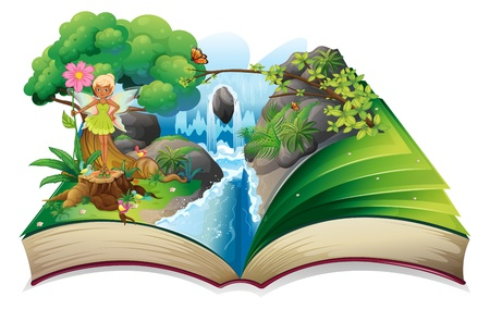 storyteller: Illustration of a book with an image of nature with a fairy on a white background