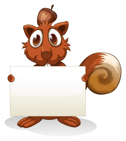 frontview: Illustration of a squirrel holding an empty signboard on a white background Illustration
