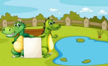 lilypad: Illustration of the crocodiles holding an empty banner Illustration