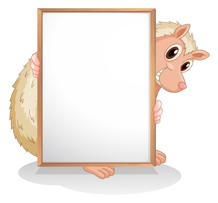 Illustration of a molehog holding an empty board on a white background  Illustration