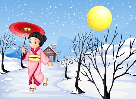 sandal tree: Illustration of a Chinese lady walking under the snow Illustration