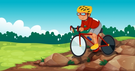 rocky road: Illustration of a boy biking at the rocky road Illustration