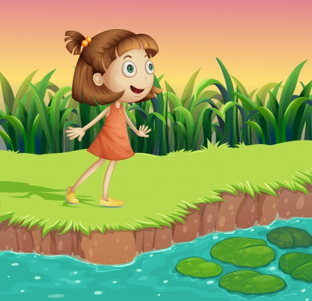 little girl dress: Illustration of a small girl at the riverbank Illustration