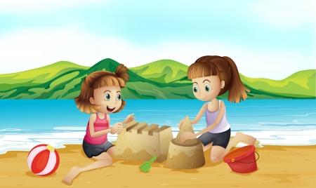 浜の城を作る 2 人の友人のイラスト