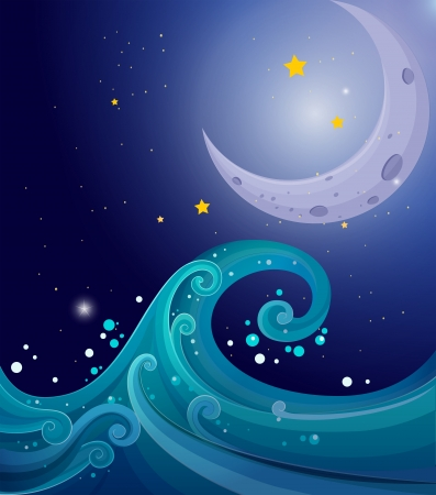 Illustration of an image of the sea waves with a moon Stock Vector - 20889120