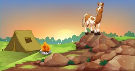camping tent: Illustration of a horse above a rock near a camping tent
