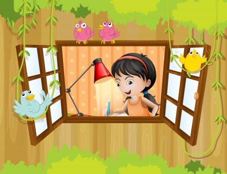 Illustration of a girl studying near the window with birds Stock Vector - 20889124