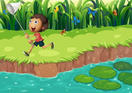 Illustration of a boy catching butterflies at the riverside Vector
