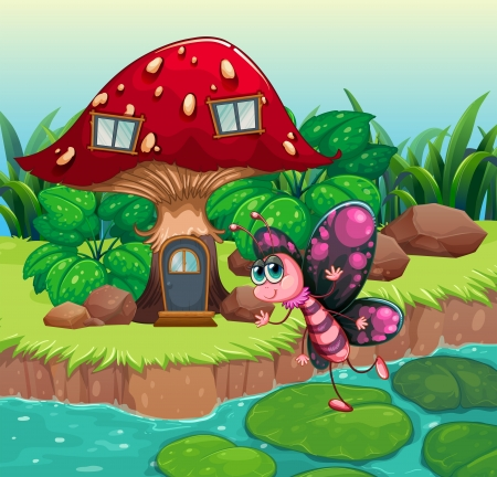Illustration of a butterfly waving near the red mushroom house