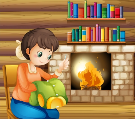Illustration of a woman sewing near the fireplace Vector