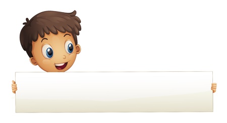 Illustration of a small boy holding an empty banner on a white background  Stock Vector - 20889128