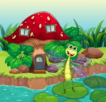 Illustration of a giant mushroom house with a dragonfly Illustration