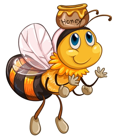 Illustration of a bee flying with a pot of honey on a white background  Иллюстрация