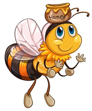 abeja caricatura: Ilustración de una abeja volando con un pote de miel en un fondo blanco
