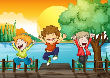 Illustration of the three happy boys at the wooden bridge Vector