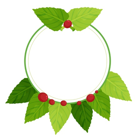 Illustration of an empty round template with leaves and cherries on a white background  Vector