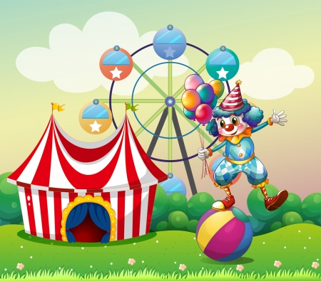 carnival costume: Illustration of a clown balancing above an inflatable ball at the carnival Illustration