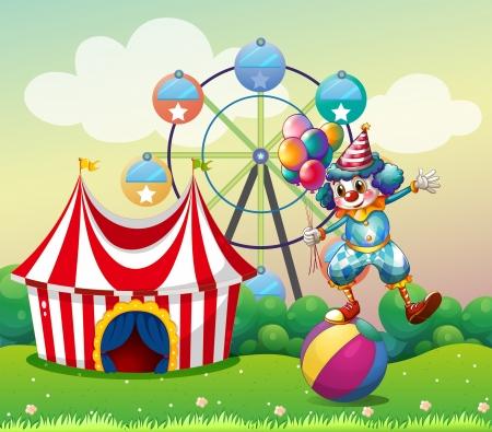 Ilustración de un payaso equilibrio encima de una bola inflable en el carnaval