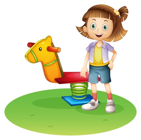 Illustration of a girl standing beside a horse spring toy on a white background  Stock Vector - 20889190