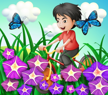 Illustration of a boy biking in the garden with flowers and butterflies
