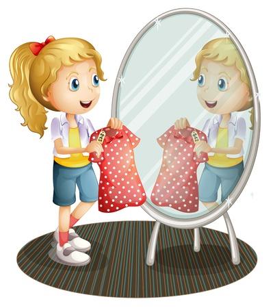 Illustration d'une fille tenant une robe rouge en face du miroir sur un fond blanc