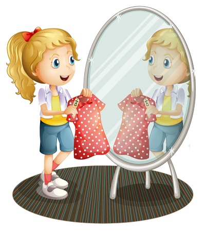 fitting: Illustration of a girl holding a red dress in front of the mirror on a white background