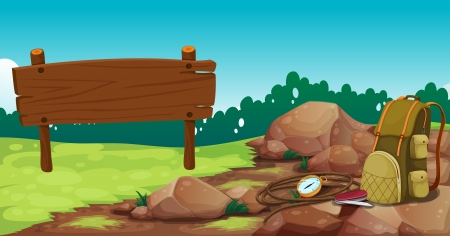 Illustration of an empty wooden signboard near the rocks with a bag Vector