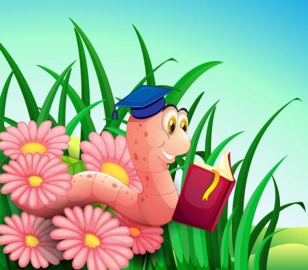 lombriz: Ilustración de una lombriz leyendo un libro en el jardín