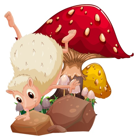 giant mushroom: Illustration of a molehog playing near the giant red mushroom on a white background  Illustration