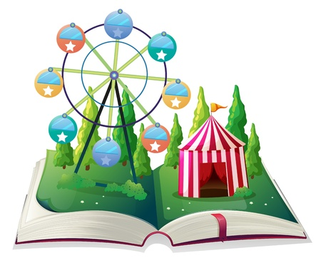 fable: Illustration of a storybook with a carnival on a white background