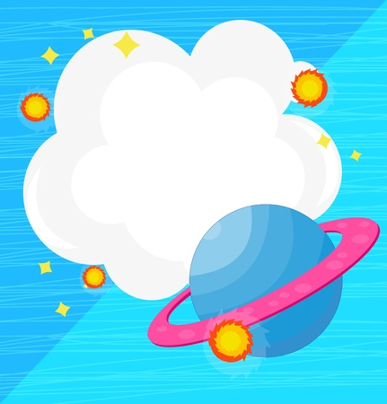meteorites: Illustration of an empty cloud template with a planet